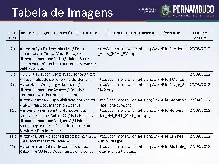 Tabela de Imagens n° do direito da imagem como está ao lado da foto