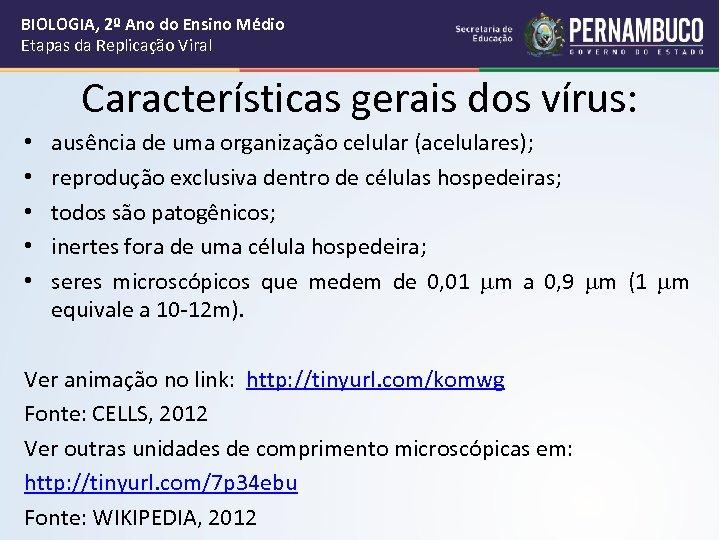 BIOLOGIA, 2º Ano do Ensino Médio Etapas da Replicação Viral Características gerais dos vírus: