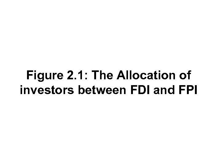 Figure 2. 1: The Allocation of investors between FDI and FPI