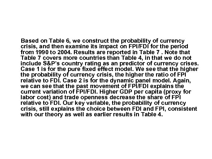 Based on Table 6, we construct the probability of currency crisis, and then examine