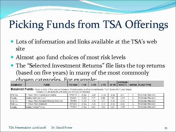 Picking Funds from TSA Offerings Lots of information and links available at the TSA's