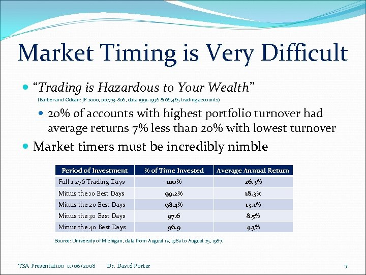 """Market Timing is Very Difficult """"Trading is Hazardous to Your Wealth"""" (Barber and Odean:"""
