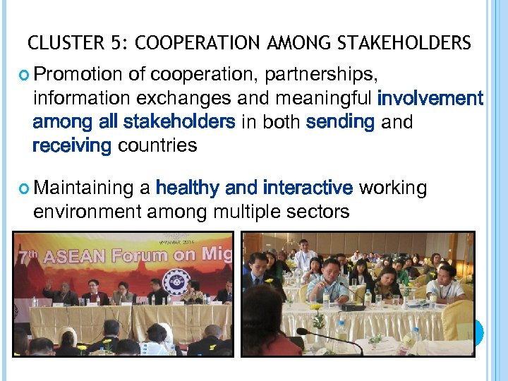 CLUSTER 5: COOPERATION AMONG STAKEHOLDERS Promotion of cooperation, partnerships, information exchanges and meaningful involvement