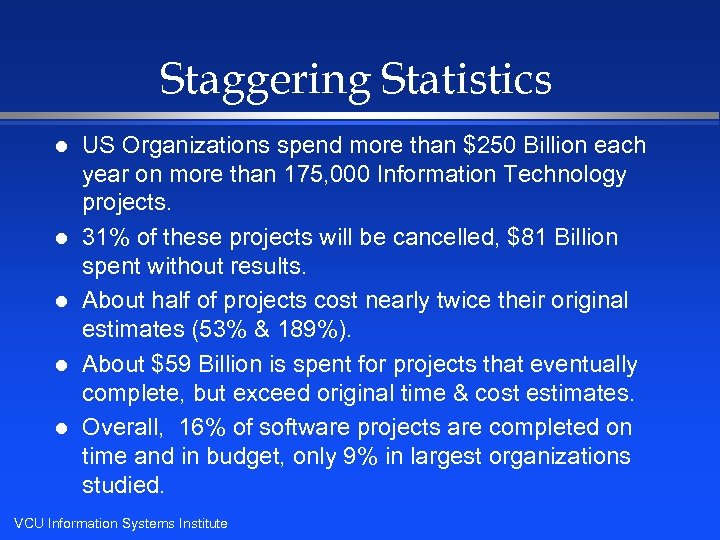 Staggering Statistics l l l US Organizations spend more than $250 Billion each year