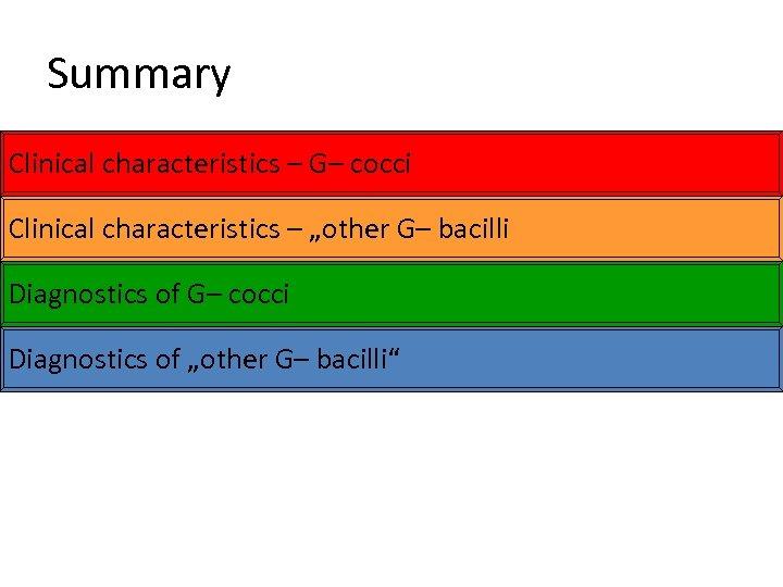 "Summary Clinical characteristics – G– cocci Clinical characteristics – ""other G– bacilli Diagnostics of"