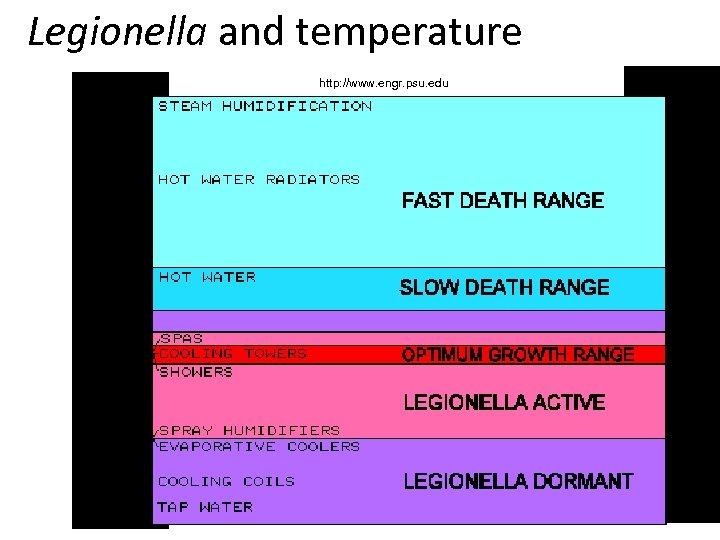 Legionella and temperature http: //www. engr. psu. edu