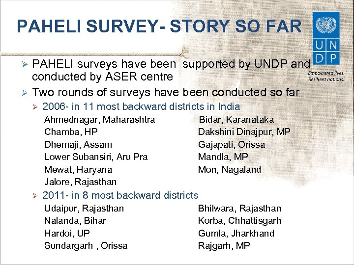 PAHELI SURVEY- STORY SO FAR PAHELI surveys have been supported by UNDP and conducted