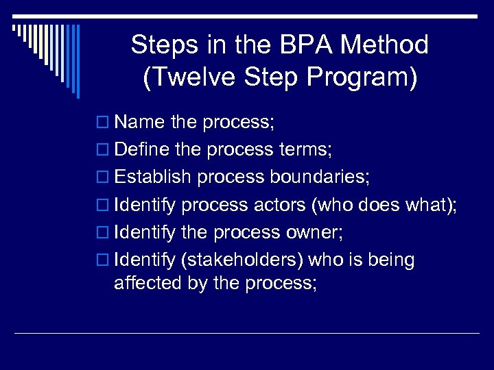 Steps in the BPA Method (Twelve Step Program) o Name the process; o Define