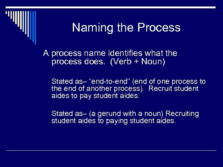 Naming the Process A process name identifies what the process does. (Verb + Noun)