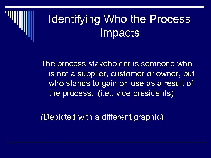 Identifying Who the Process Impacts The process stakeholder is someone who is not a