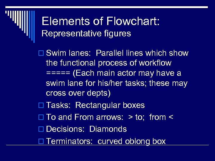 Elements of Flowchart: Representative figures o Swim lanes: Parallel lines which show the functional