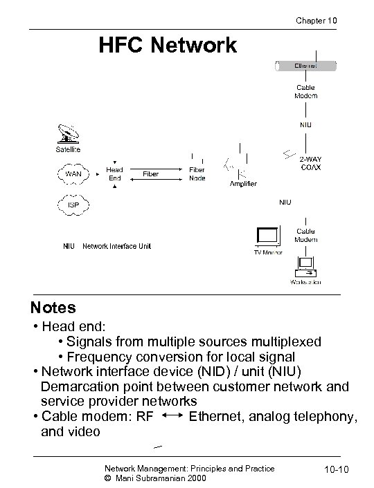 Chapter 10 HFC Network Notes • Head end: • Signals from multiple sources multiplexed