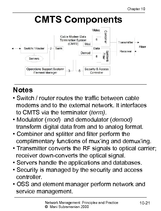 Chapter 10 CMTS Components Notes • Switch / router routes the traffic between cable