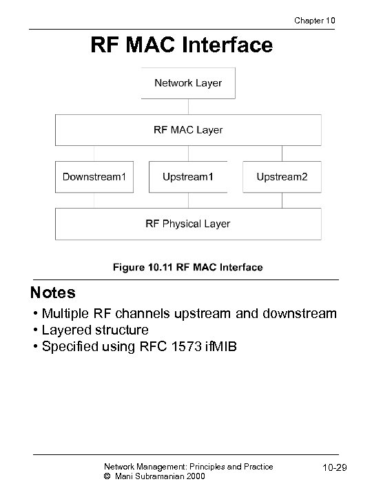 Chapter 10 RF MAC Interface Notes • Multiple RF channels upstream and downstream •