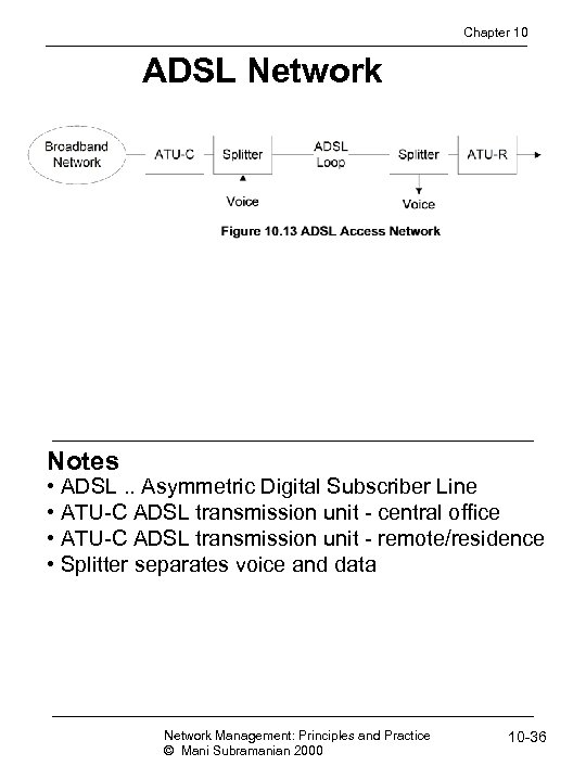 Chapter 10 ADSL Network Notes • ADSL. . Asymmetric Digital Subscriber Line • ATU-C