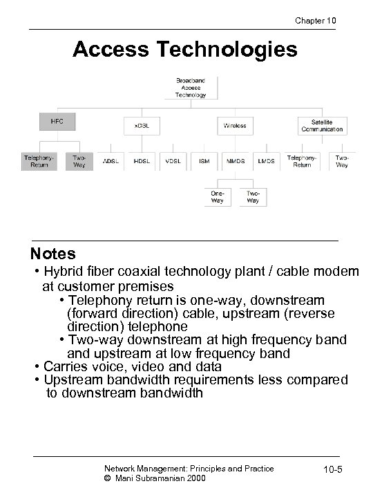 Chapter 10 Access Technologies Notes • Hybrid fiber coaxial technology plant / cable modem