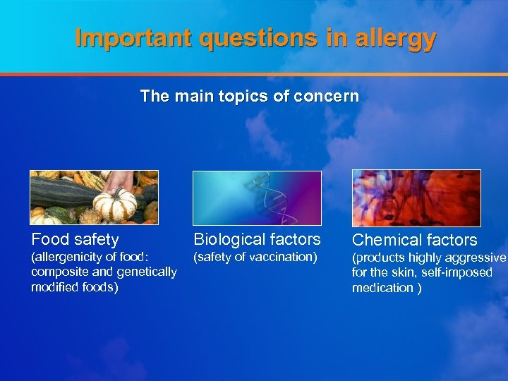 Important questions in allergy The main topics of concern Food safety Biological factors Chemical