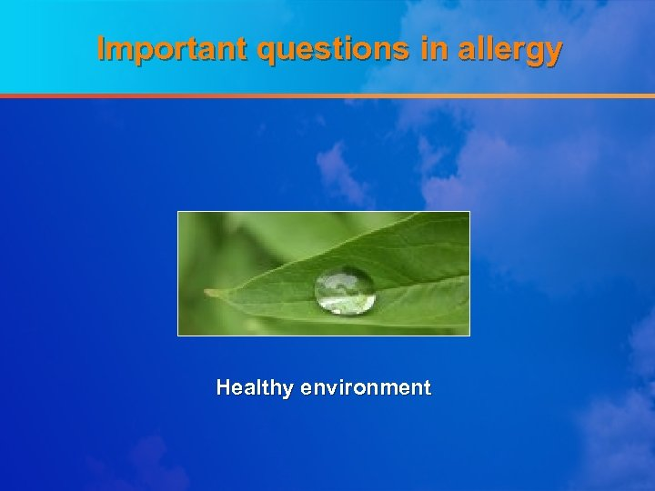 Important questions in allergy Healthy environment