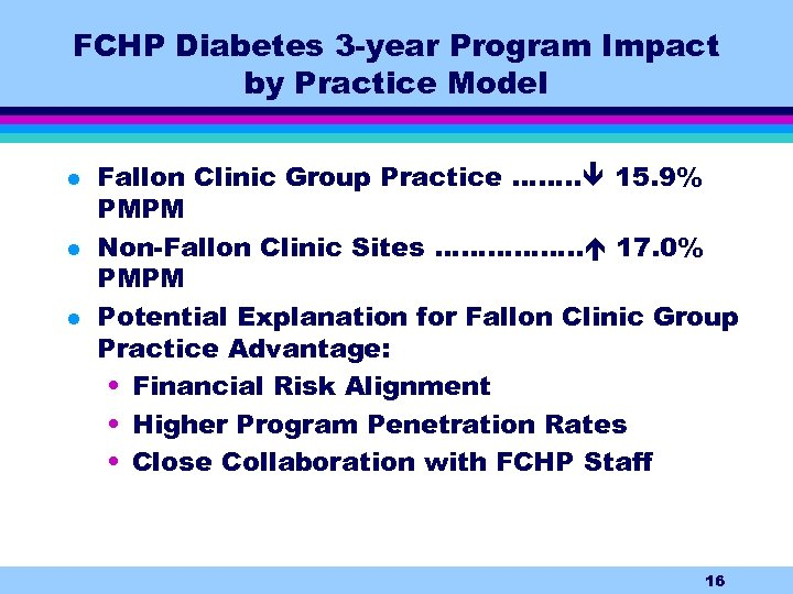 FCHP Diabetes 3 -year Program Impact by Practice Model l Fallon Clinic Group Practice