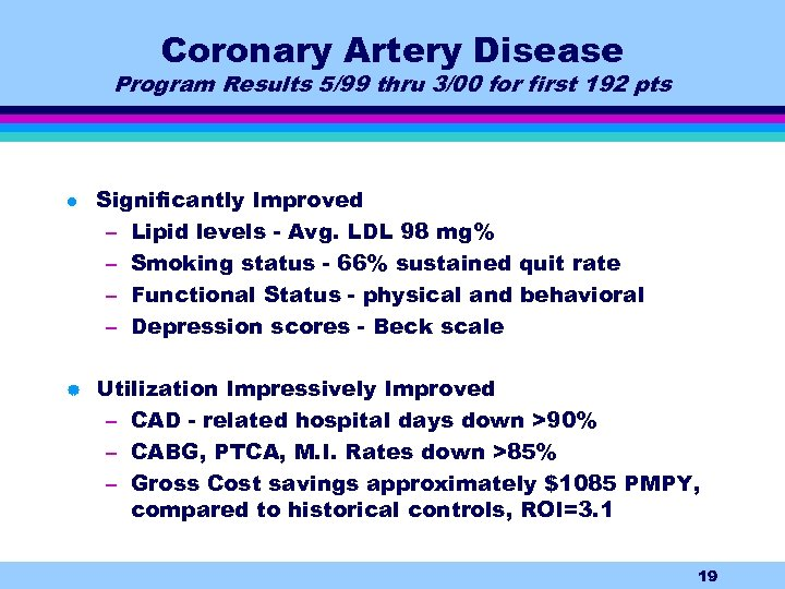 Coronary Artery Disease Program Results 5/99 thru 3/00 for first 192 pts l |
