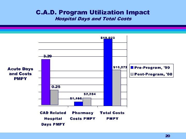 C. A. D. Program Utilization Impact Hospital Days and Total Costs 3. 29 Acute
