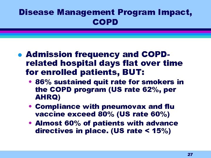 Disease Management Program Impact, COPD l Admission frequency and COPDrelated hospital days flat over
