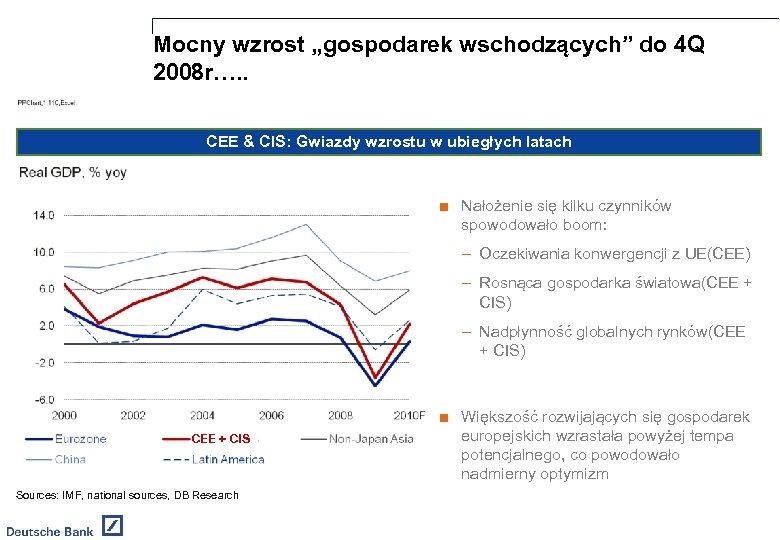 """Mocny wzrost """"gospodarek wschodzących"""" do 4 Q 2008 r…. . CEE & CIS: Gwiazdy"""