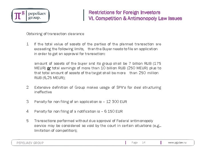 Restrictions for Foreign Investors VI. Competition & Antimonopoly Law Issues Obtaining of transaction clearance
