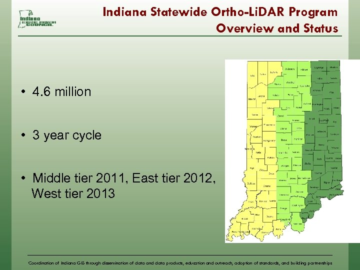 Indiana Statewide Ortho-Li. DAR Program Overview and Status • 4. 6 million • 3