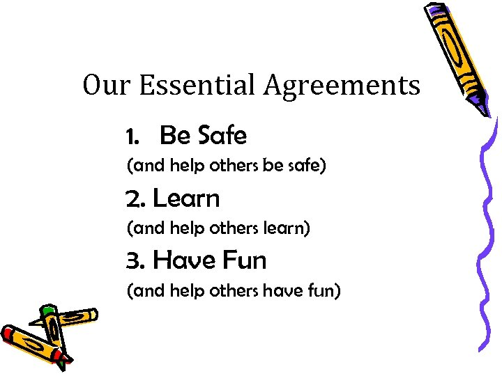 Our Essential Agreements 1. Be Safe (and help others be safe) 2. Learn (and