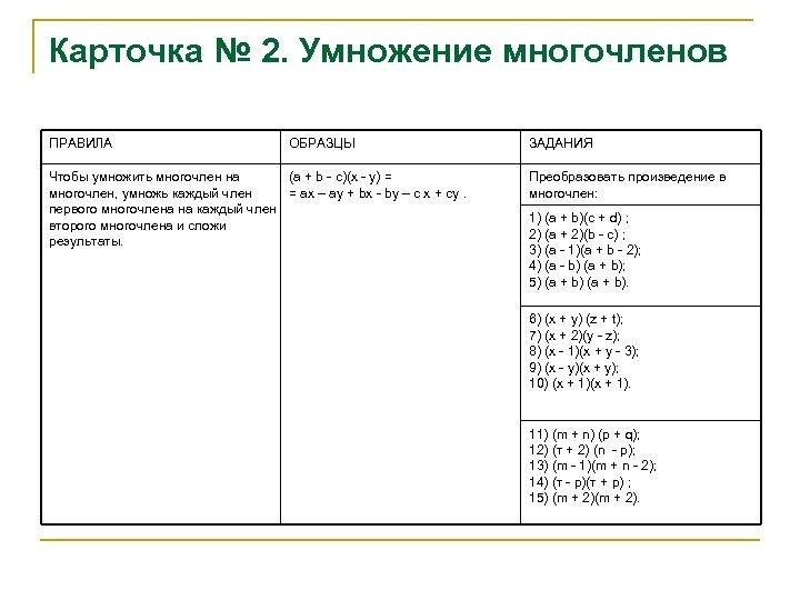 Карточка № 2. Умножение многочленов ПРАВИЛА ОБРАЗЦЫ Чтобы умножить многочлен на (а + b