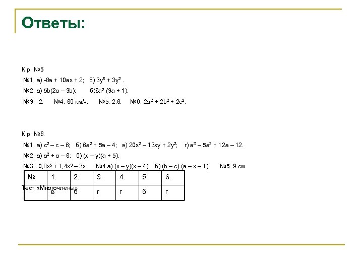 Ответы: К. р. № 5 № 1. а) -8 а + 10 ах +