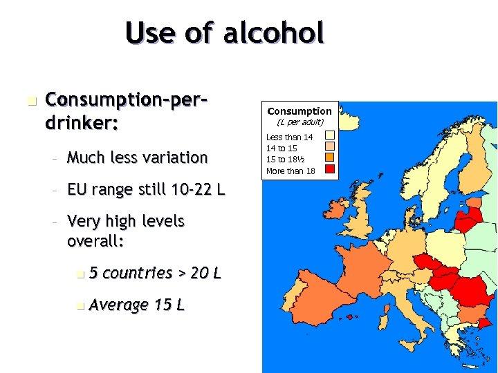 Use of alcohol n Consumption-perdrinker: – Much less variation – EU range still 10