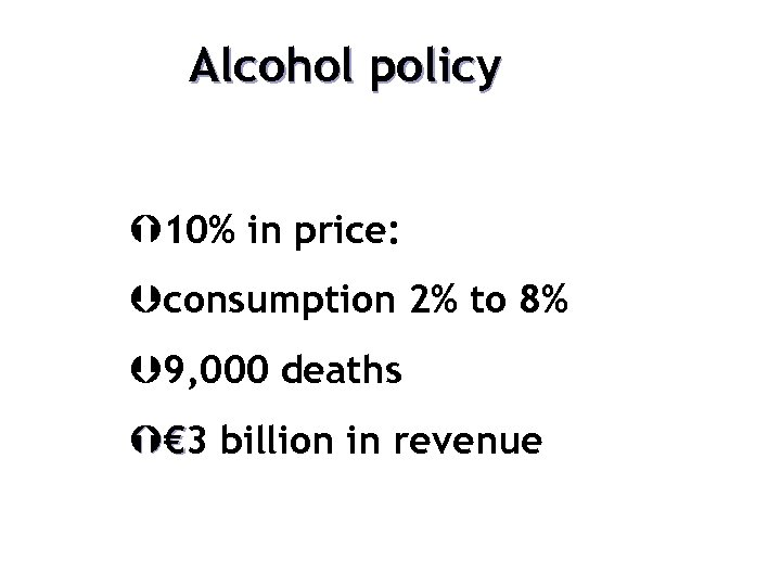 Alcohol policy Ý 10% in price: Þconsumption 2% to 8% Þ 9, 000 deaths