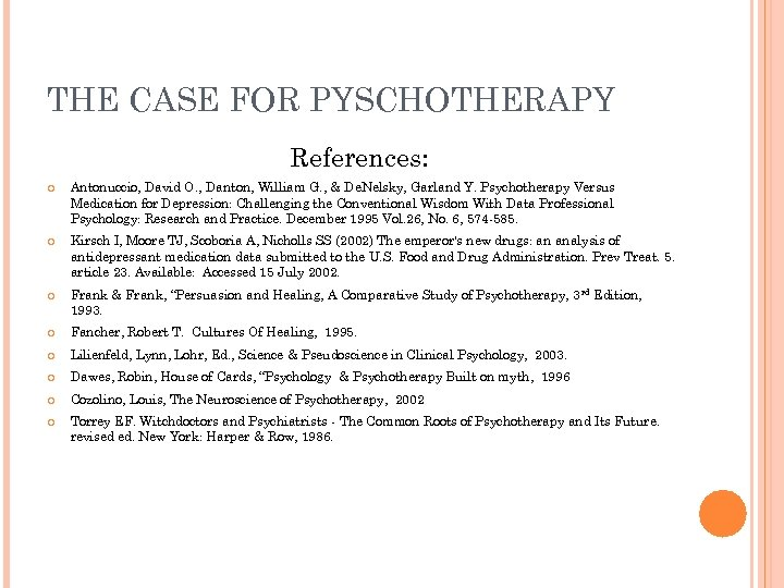 THE CASE FOR PYSCHOTHERAPY References: Antonuccio, David O. , Danton, William G. , &