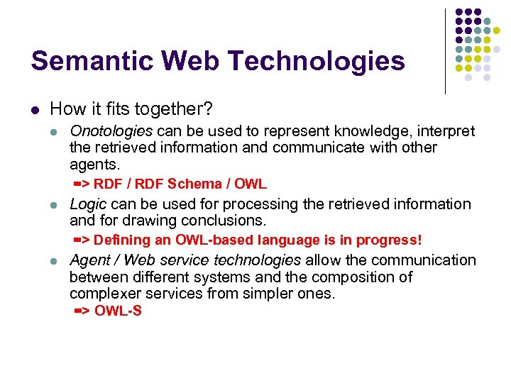 Semantic Web Technologies l How it fits together? l Onotologies can be used to
