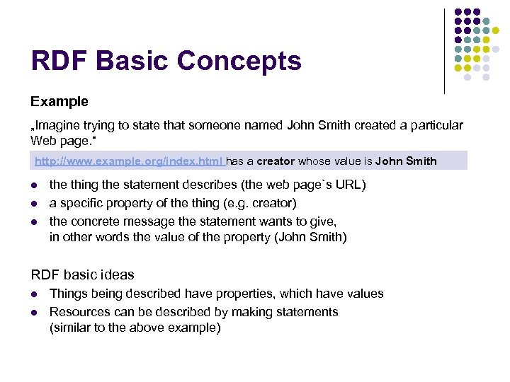 "RDF Basic Concepts Example ""Imagine trying to state that someone named John Smith created"