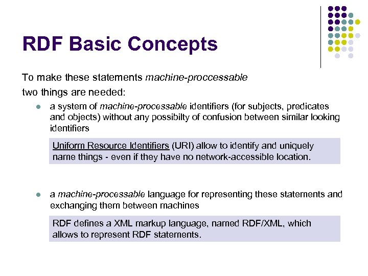 RDF Basic Concepts To make these statements machine-proccessable two things are needed: l a