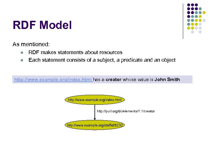 RDF Model As mentioned: l l RDF makes statements about resources Each statement consists