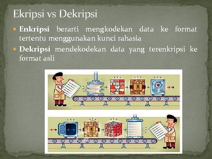 Ekripsi vs Dekripsi Enkripsi berarti mengkodekan data ke format tertentu menggunakan kunci rahasia Dekripsi