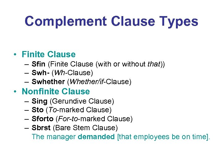 Complement Clause Types • Finite Clause – Sfin (Finite Clause (with or without that))