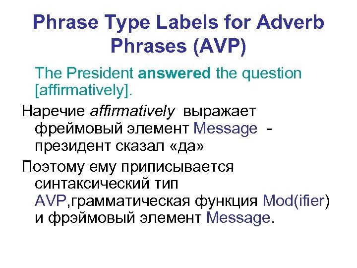 Phrase Type Labels for Adverb Phrases (AVP) The President answered the question [affirmatively]. Наречие