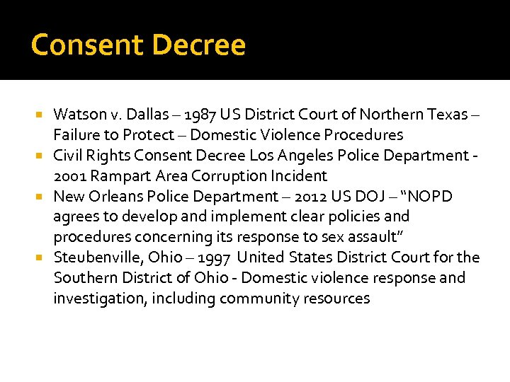 Consent Decree Watson v. Dallas – 1987 US District Court of Northern Texas –
