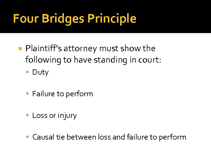 Four Bridges Principle Plaintiff's attorney must show the following to have standing in court: