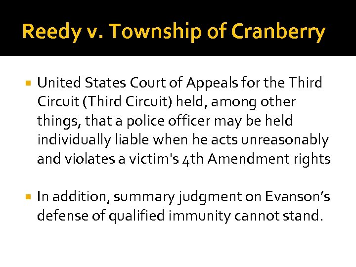 Reedy v. Township of Cranberry United States Court of Appeals for the Third Circuit