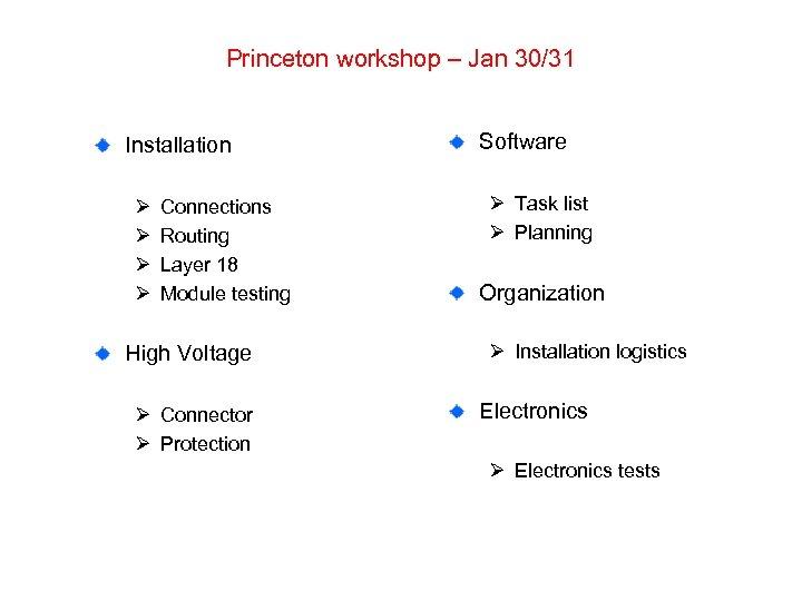 Princeton workshop – Jan 30/31 Installation Ø Ø Connections Routing Layer 18 Module testing