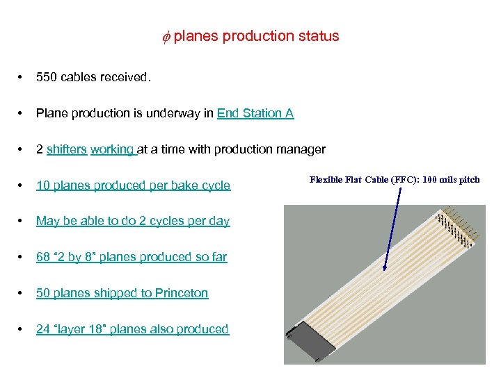 planes production status • 550 cables received. • Plane production is underway in