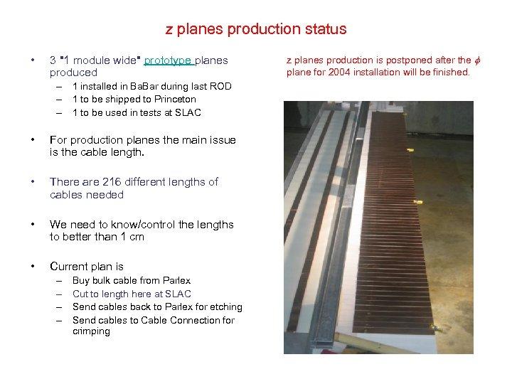 z planes production status • 3