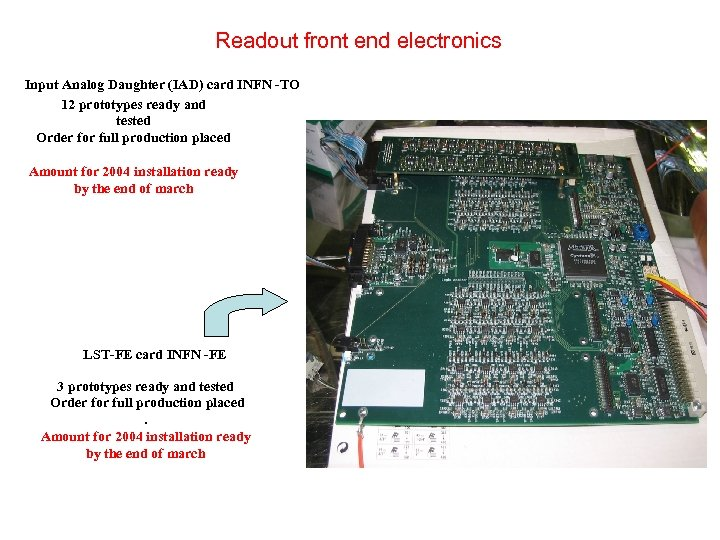 Readout front end electronics Input Analog Daughter (IAD) card INFN -TO 12 prototypes ready
