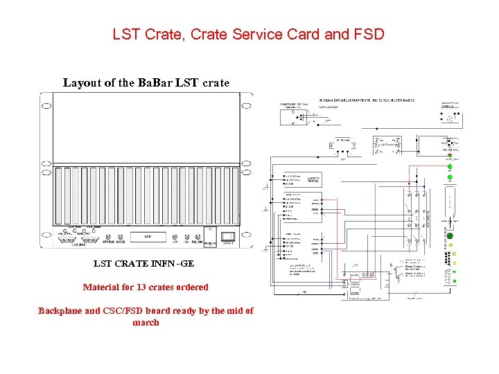 LST Crate, Crate Service Card and FSD Layout of the Ba. Bar LST crate